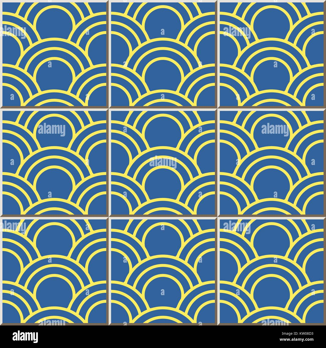 Ceramic tile pattern of oriental fish scale round curve line Stock ...