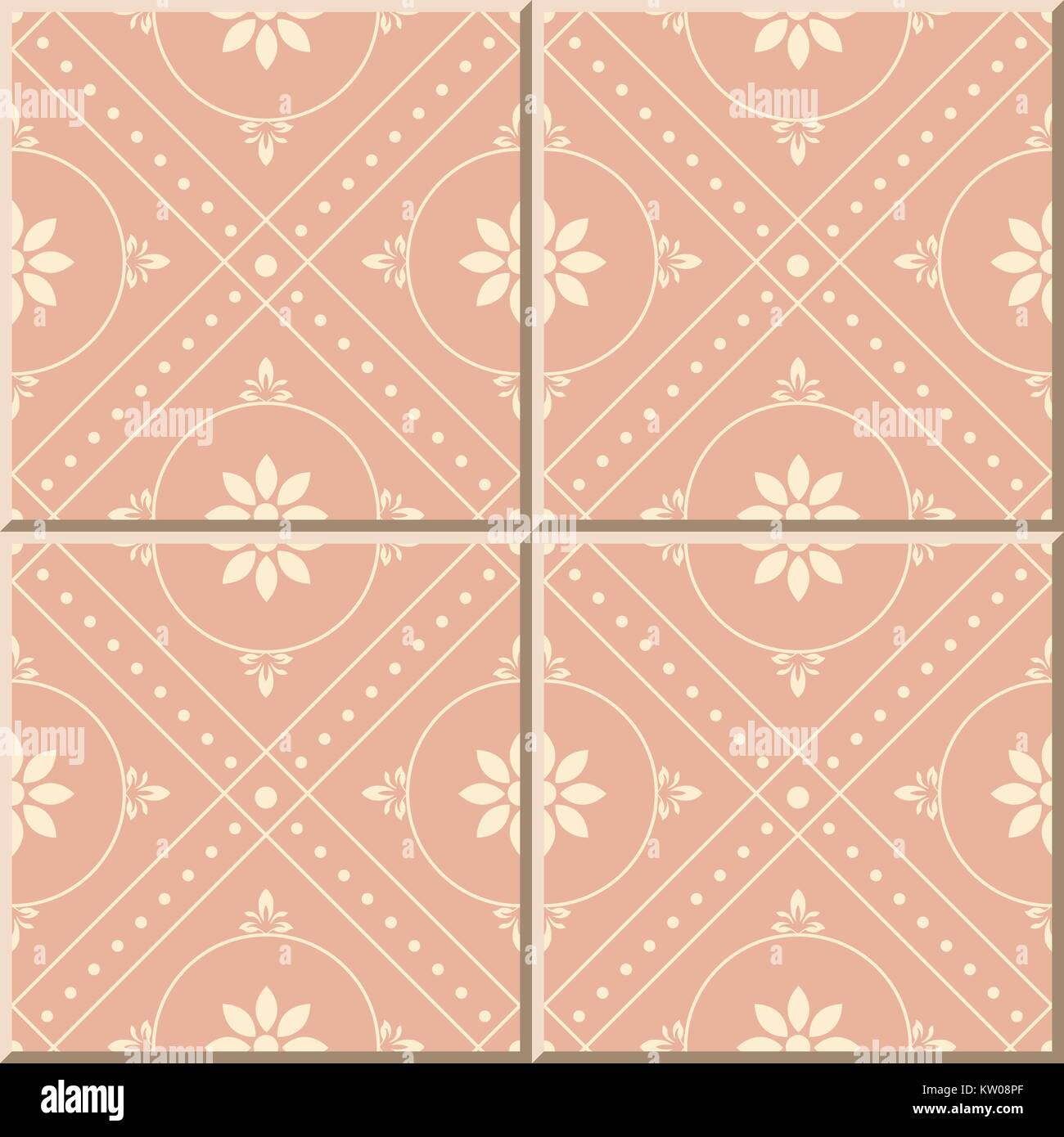 ceramic tile pattern of pink round check dot line flower stock