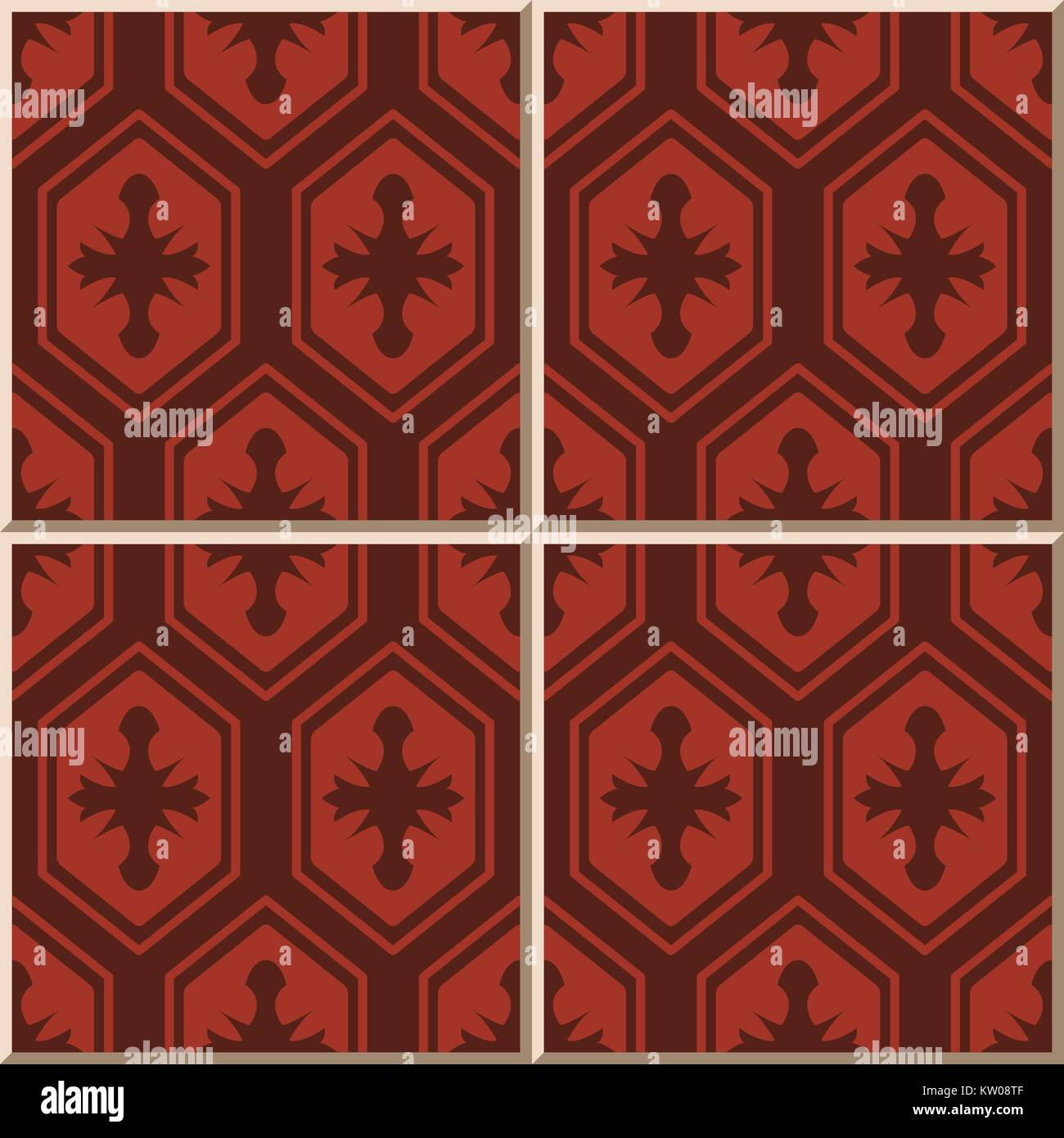 Ceramic Tile Pattern Oriental Red Polygon Geometry Cross Frame Stock