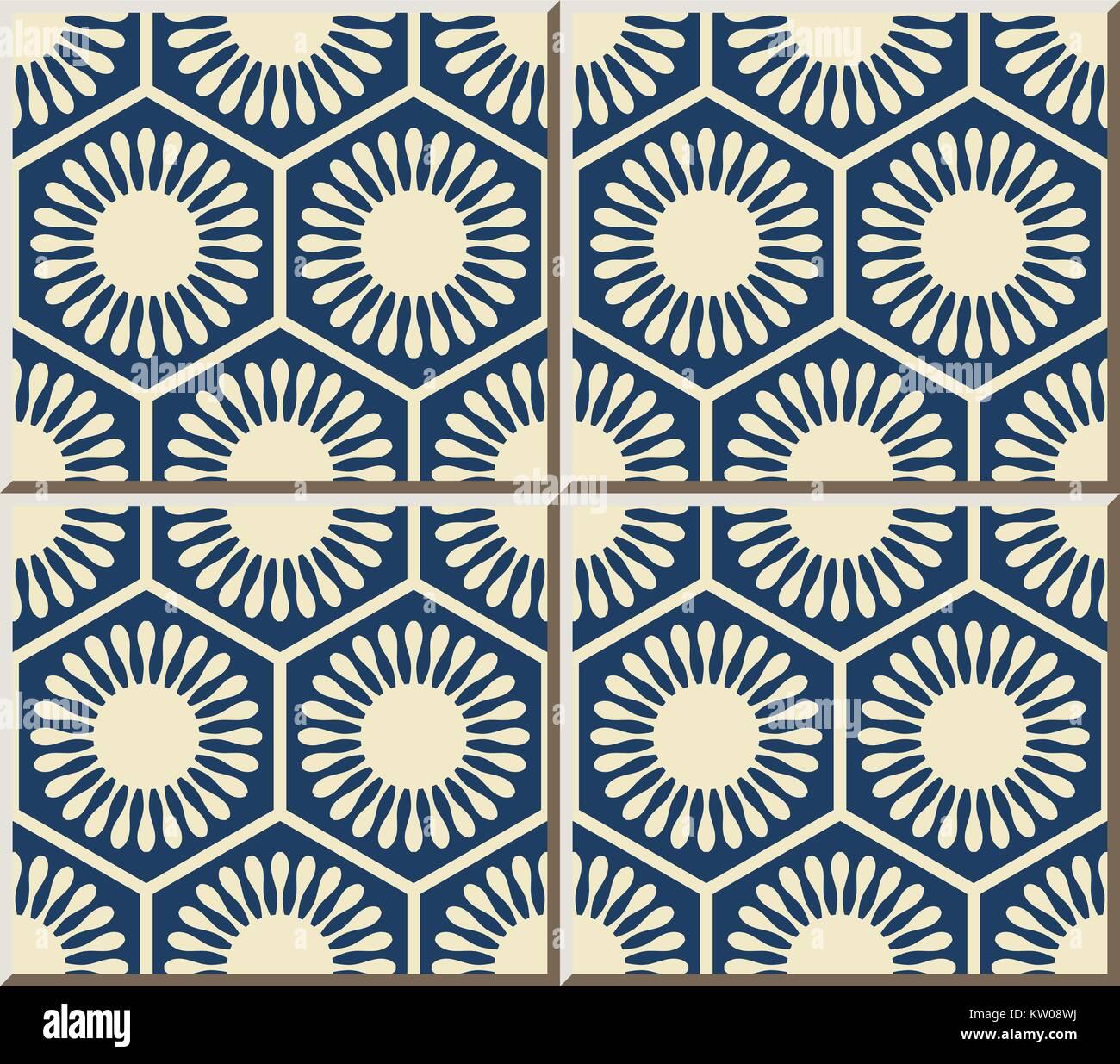 Ceramic tile pattern polygon round flower geometry cell frame Stock ...
