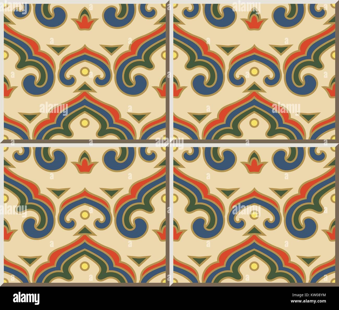 Ceramic Tile Pattern Chinese Curve Spiral Cross Royal Frame Geometry