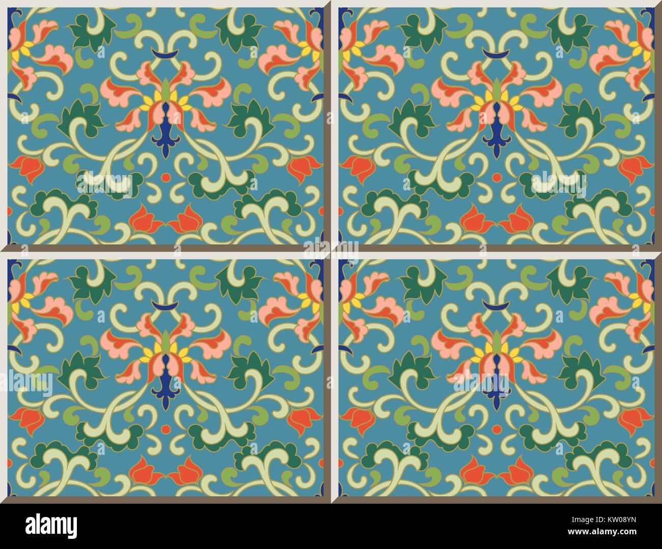 Ceramic tile pattern oriental Chinese botanic spiral flower leaf ...