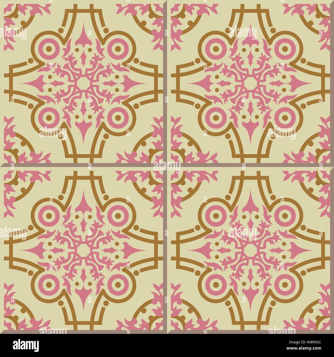 Ceramic tile pattern of pink gold round kaleidoscope line Stock ...