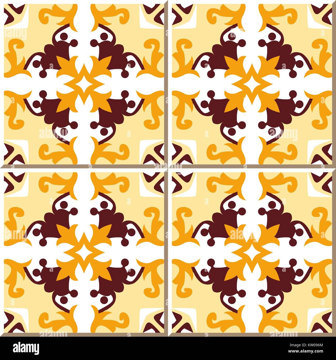 Ceramic tile pattern of yellow brown flower vine cross kaleidoscope ...