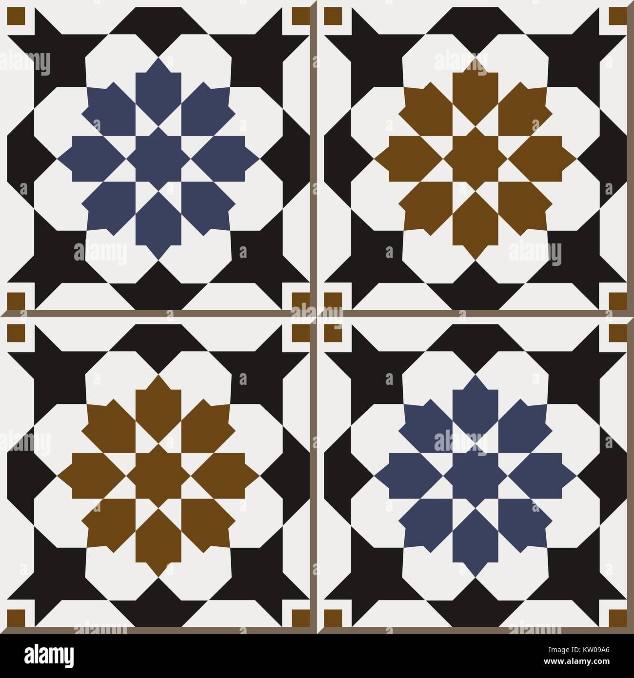 Ceramic Tile Pattern Of Islamic Retro Blue Brown Star Flower Square - Ceramic tile star designs
