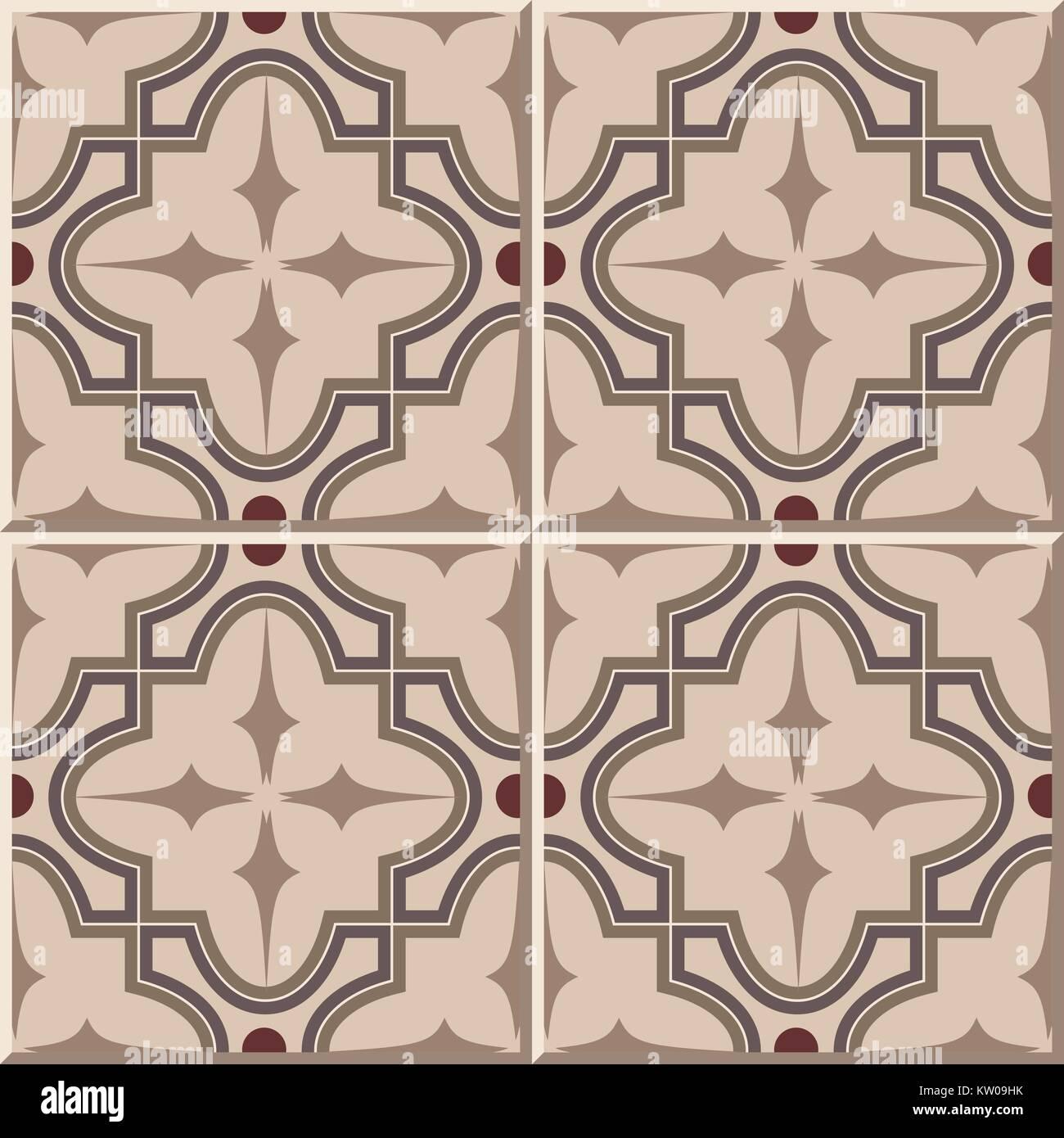 Ceramic Tile Pattern Of Curve Brown Cross Star Kaleidoscpe Stock - Ceramic tile star designs