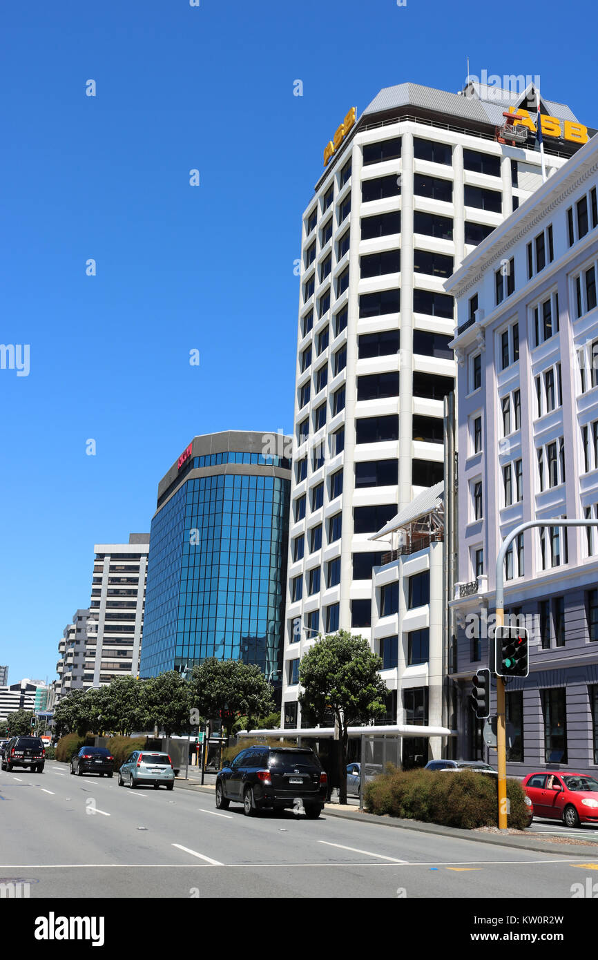 View Down Jervois Quay In Central Wellington, North Island, New Zealand  From Near Post Office Square With Huddart Parker Building Nearest The Camera
