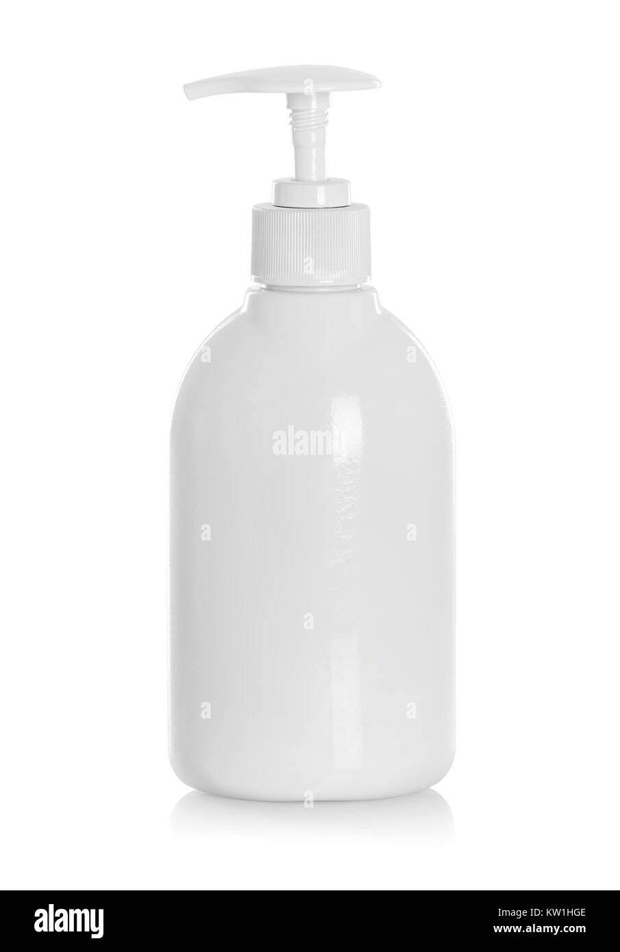 shower product in a white bottle with blue writing and a nozzle