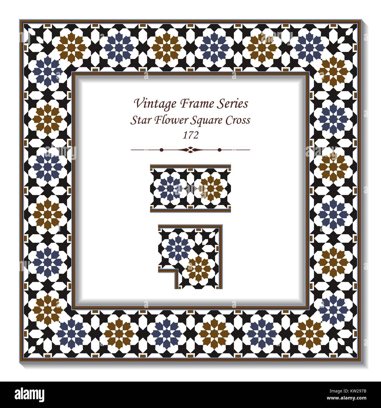 Vintage 3D frame of Islamic Star Flower Square Cross Stock Vector ...