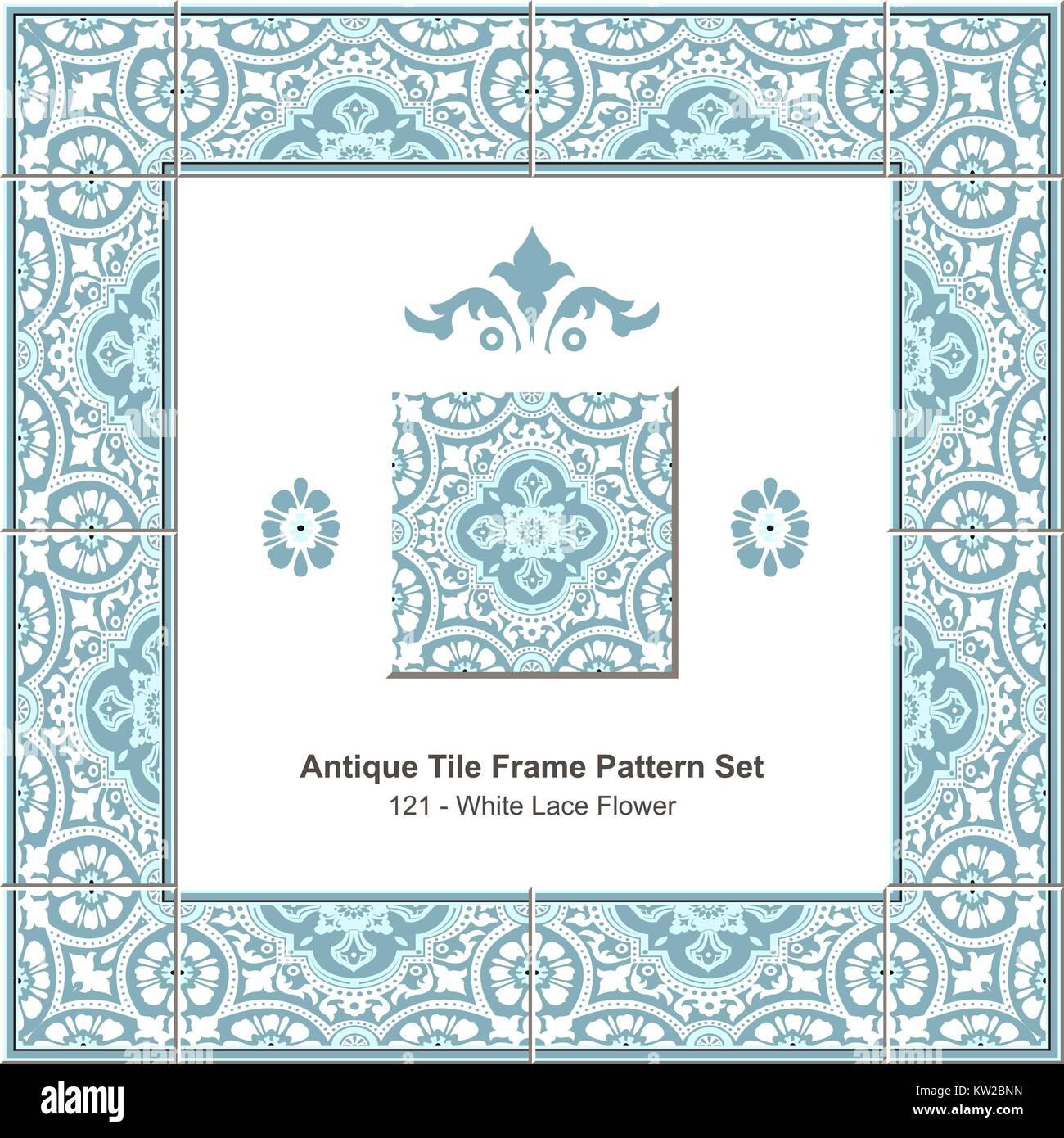 Antique tile frame pattern set Elegant Blue White Lace Flower Stock ...
