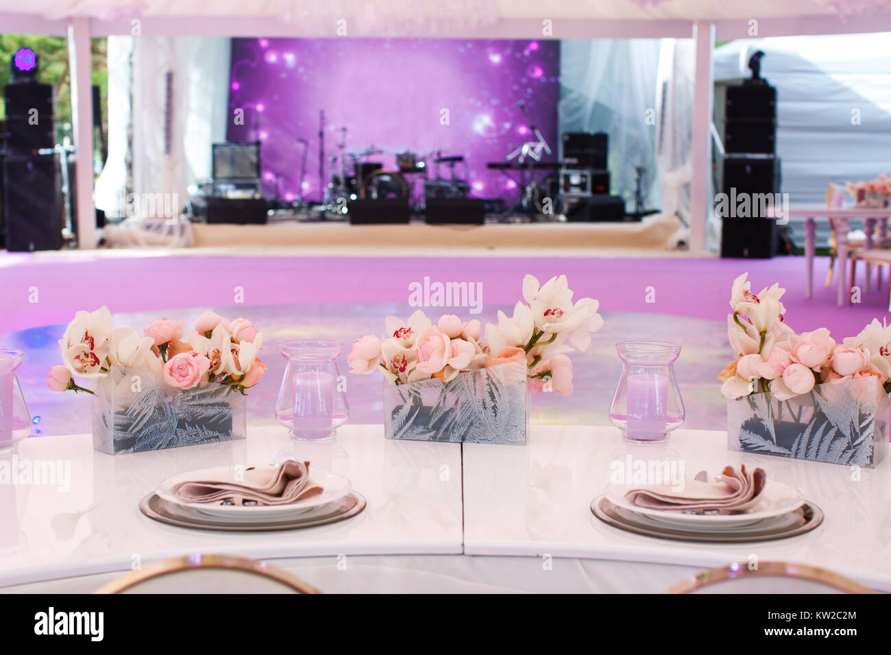 Table set for wedding or another catered event dinner Stock Photo ...