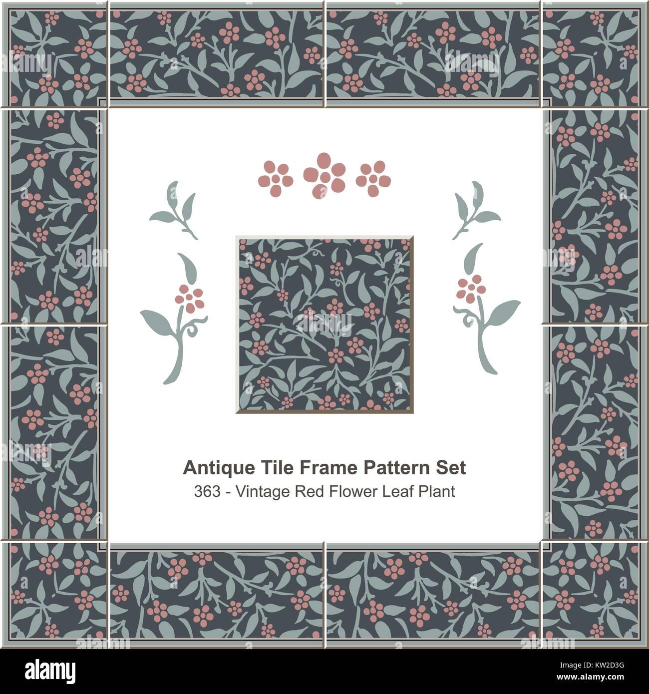 Antique tile frame pattern set Vintage Red Flower Leaf Plant Stock ...