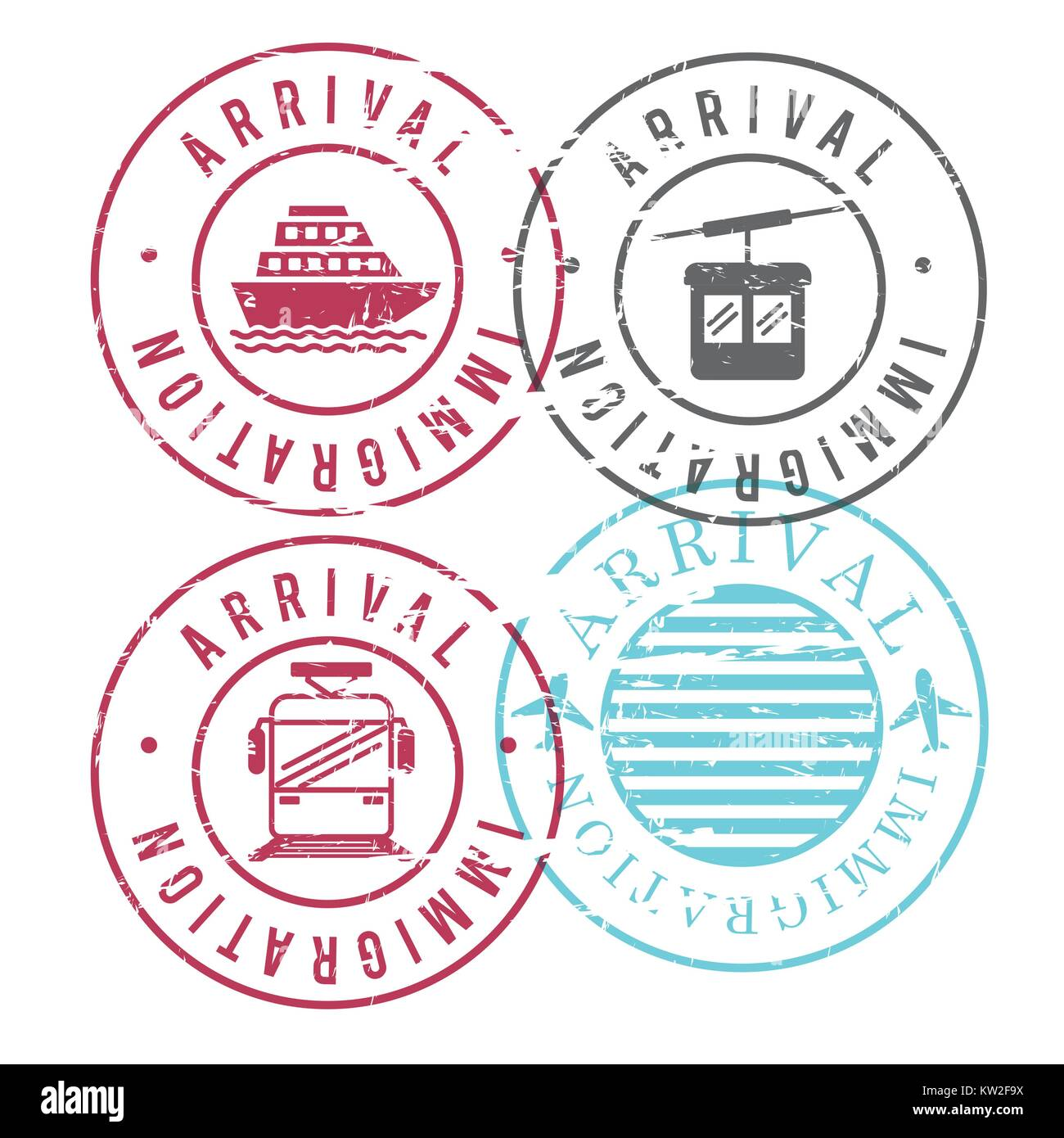 Train stamps stock photos train stamps stock images alamy immigration arrival circular stamps of ship and cableway and train and airplane in colorful silhouette buycottarizona