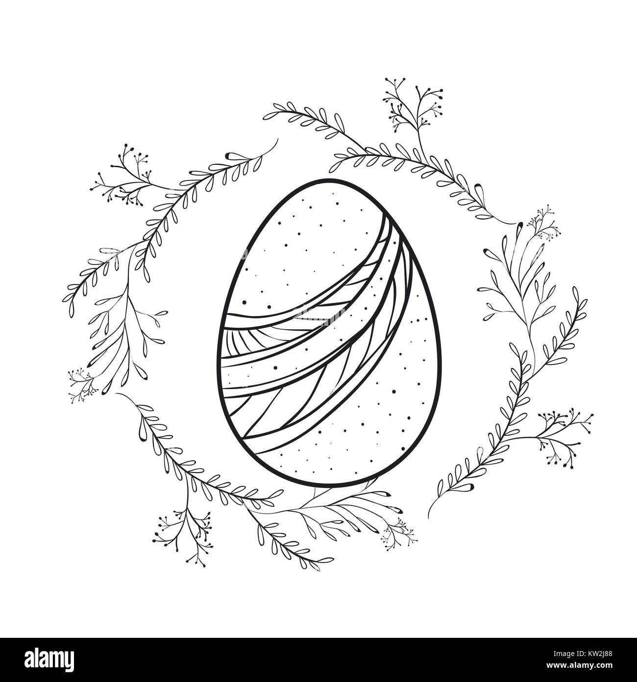 easter egg with decorative lines and branches around in monochrome