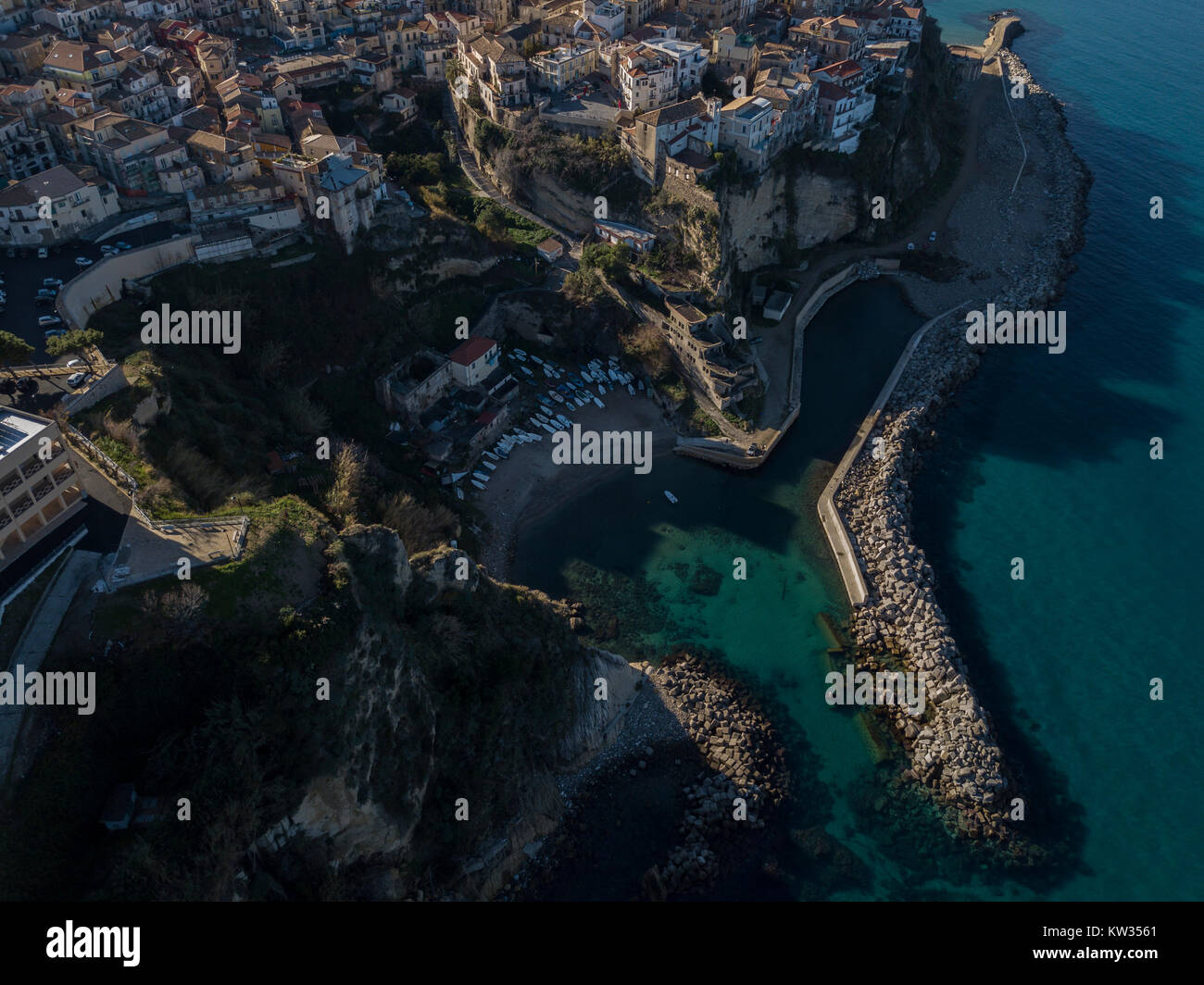Aerial view of Pizzo Calabro pier castle Calabria tourism Italy