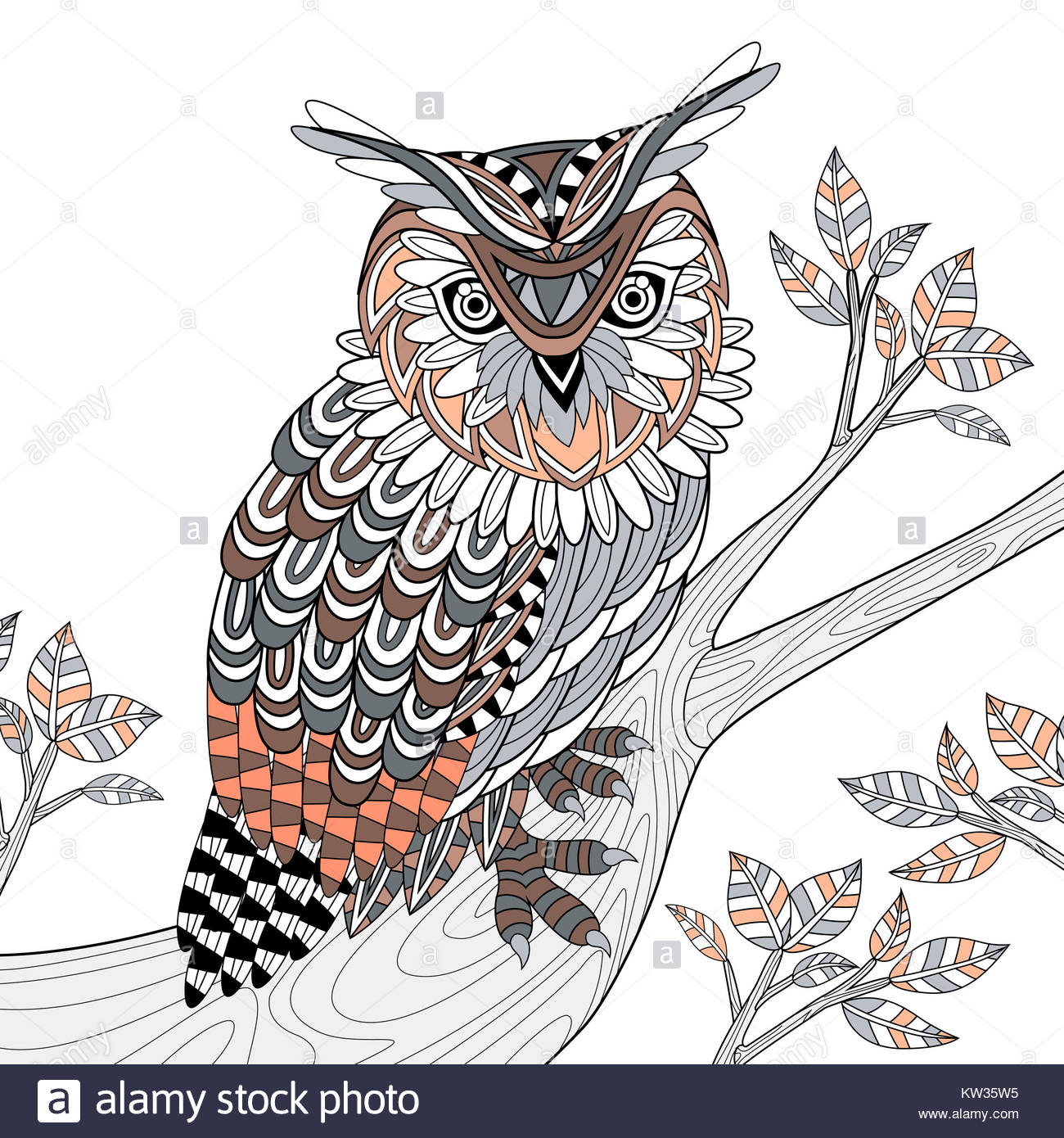wise owl coloring page in exquisite style Stock Photo: 170330193 - Alamy
