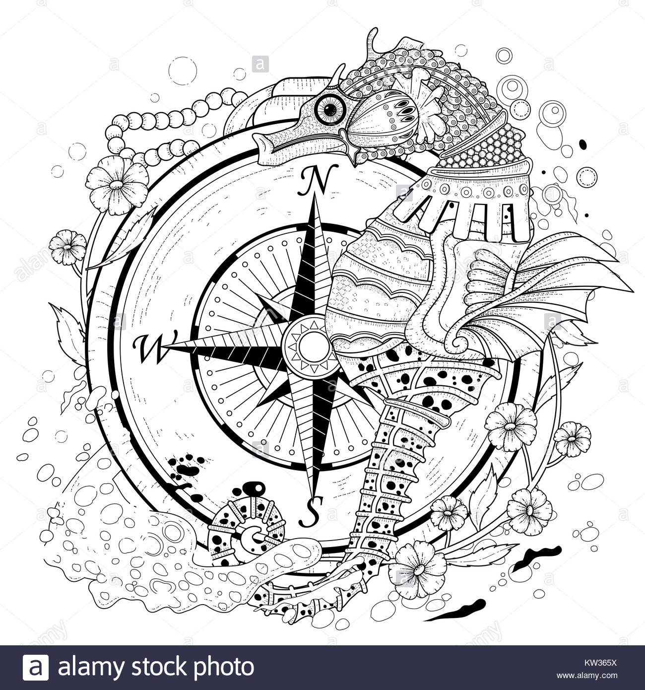 lovely seahorse coloring page in exquisite style Stock Photo ...