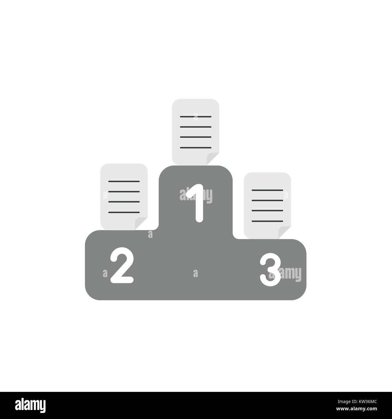 flat design vector illustration concept of written papers on grey  flat design vector illustration concept of written papers on grey podium symbol icon for first