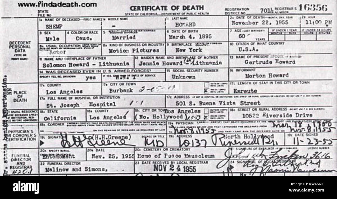 Certificate of death stock photos certificate of death stock shemp howard death certificate stock image 1betcityfo Images