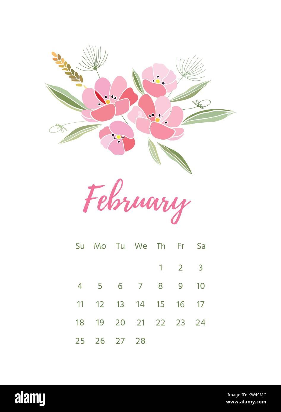 Printable 2018 calendar with pretty colorful flowers stock vector printable 2018 calendar with pretty colorful flowers mightylinksfo
