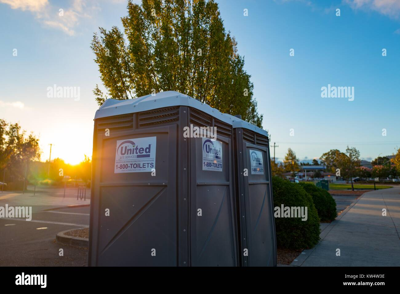 Portable toilets with logo for the equipment rental company United ...