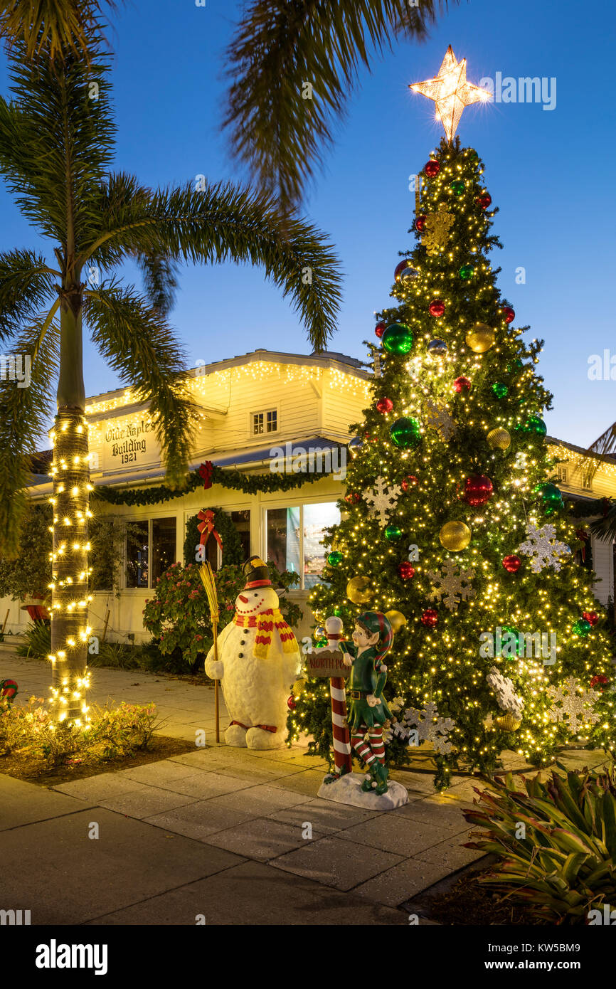 Christmas Tree And Decorations At The Olde Naples Building   Original Town  Hall (b.
