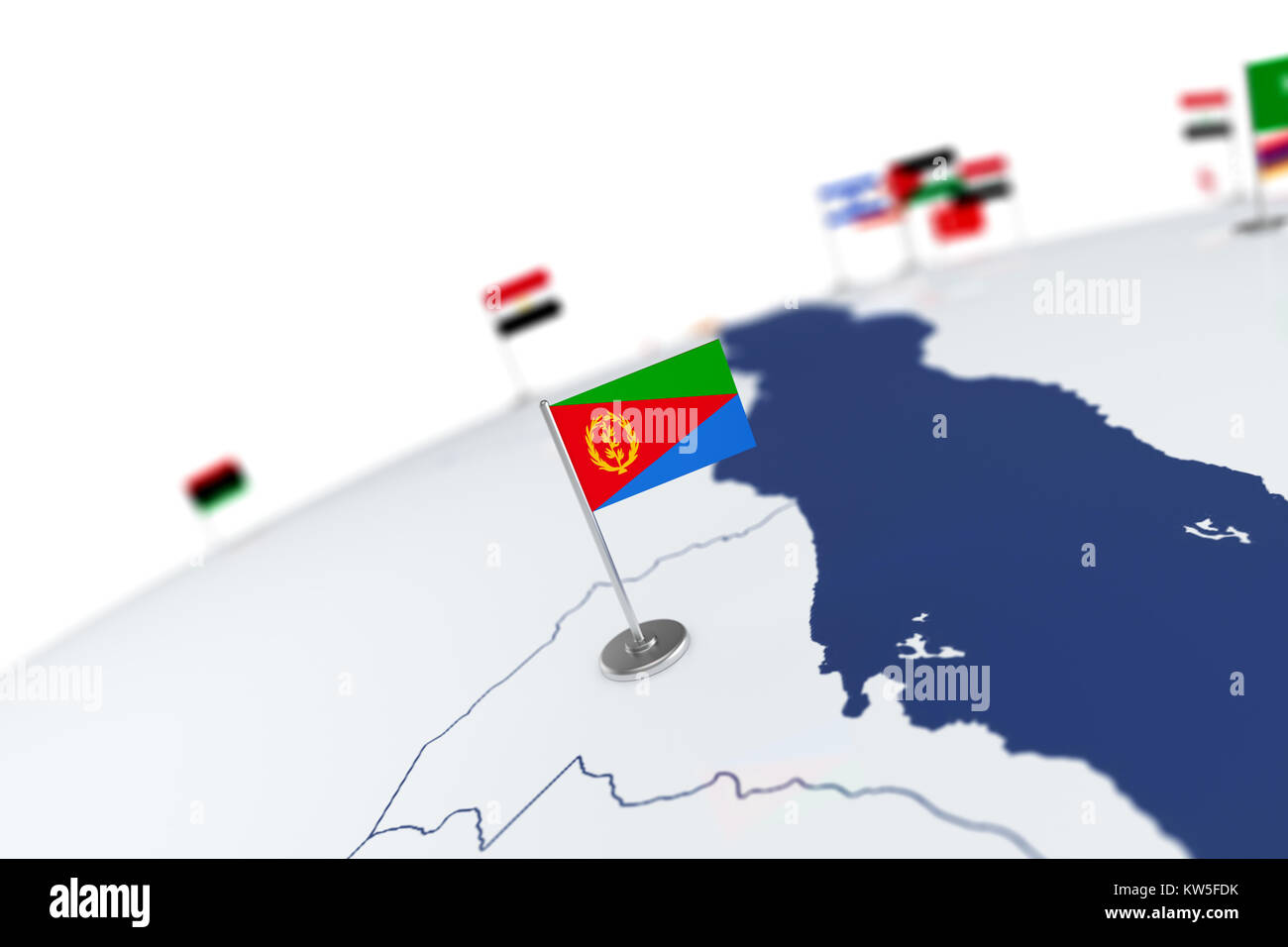 Eritrea flag country flag with chrome flagpole on the world map eritrea flag country flag with chrome flagpole on the world map with neighbors countries borders 3d illustration rendering flag gumiabroncs Image collections