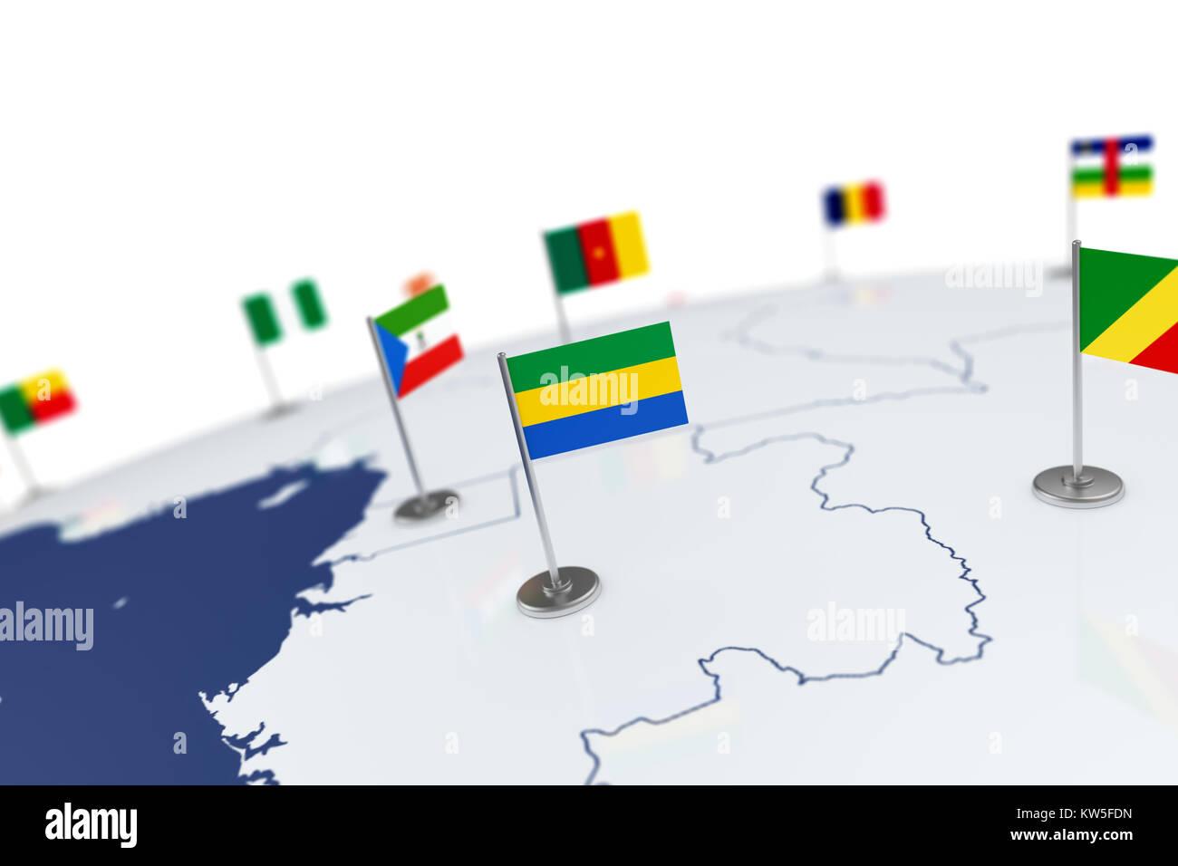 Gabon World Map.Gabon Flag Country Flag With Chrome Flagpole On The World Map With