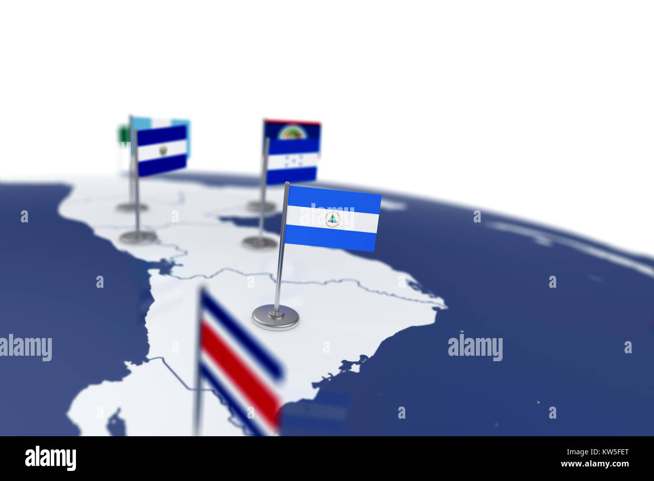 Nicaragua flag country flag with chrome flagpole on the world map nicaragua flag country flag with chrome flagpole on the world map with neighbors countries borders 3d illustration rendering flag gumiabroncs Gallery