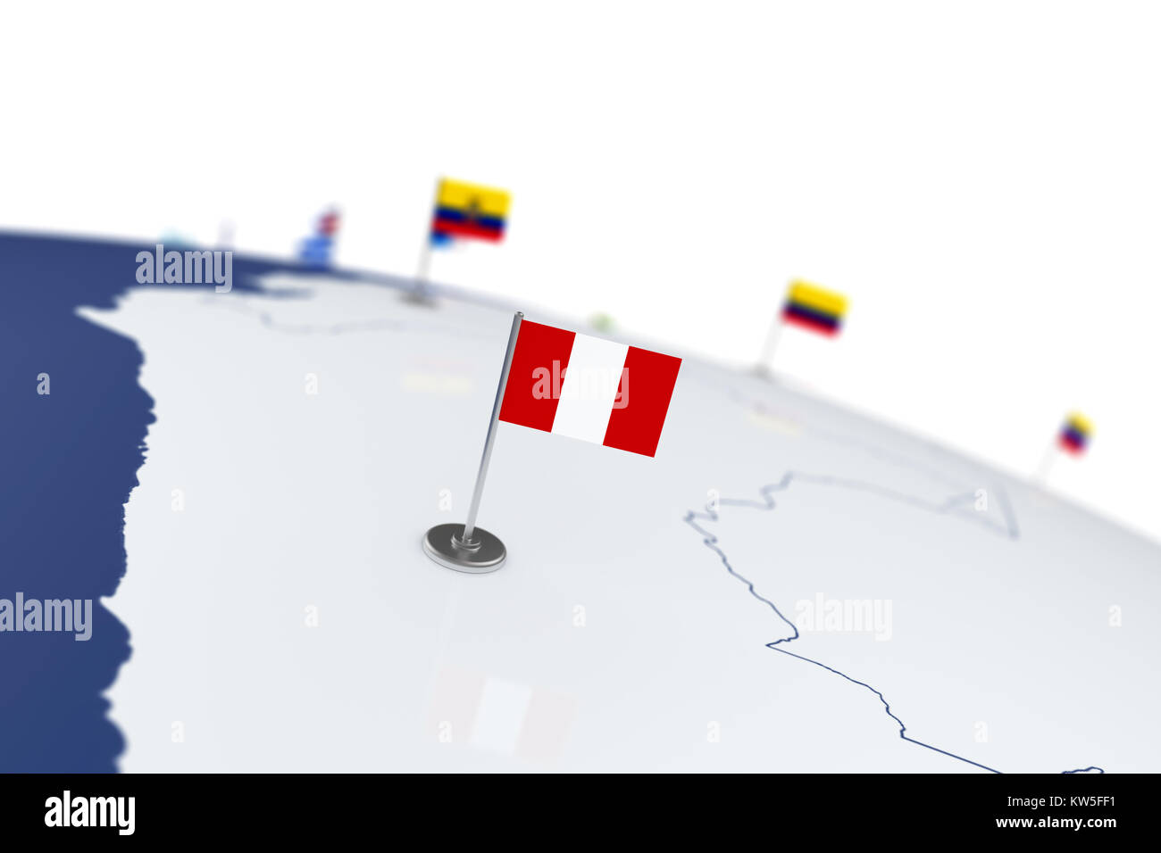 Peru flag. Country flag with chrome flagpole on the world map with ...