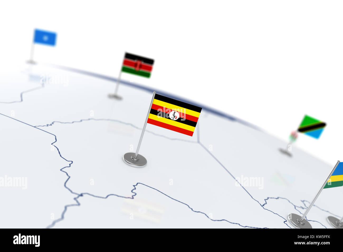 Map flag uganda stock photos map flag uganda stock images alamy uganda flag country flag with chrome flagpole on the world map with neighbors countries borders sciox Images