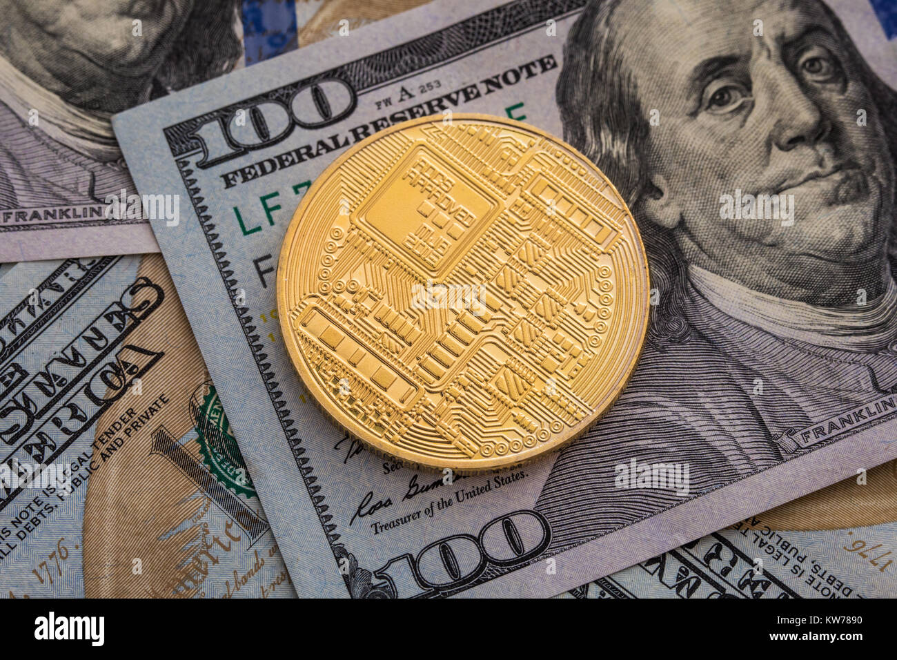 Bitcoin and dollar btc market symbol cryptocurrency rising above btc market symbol cryptocurrency rising above the united states dollar gold metal bitcoin on top of paper currency copy space fo biocorpaavc Images