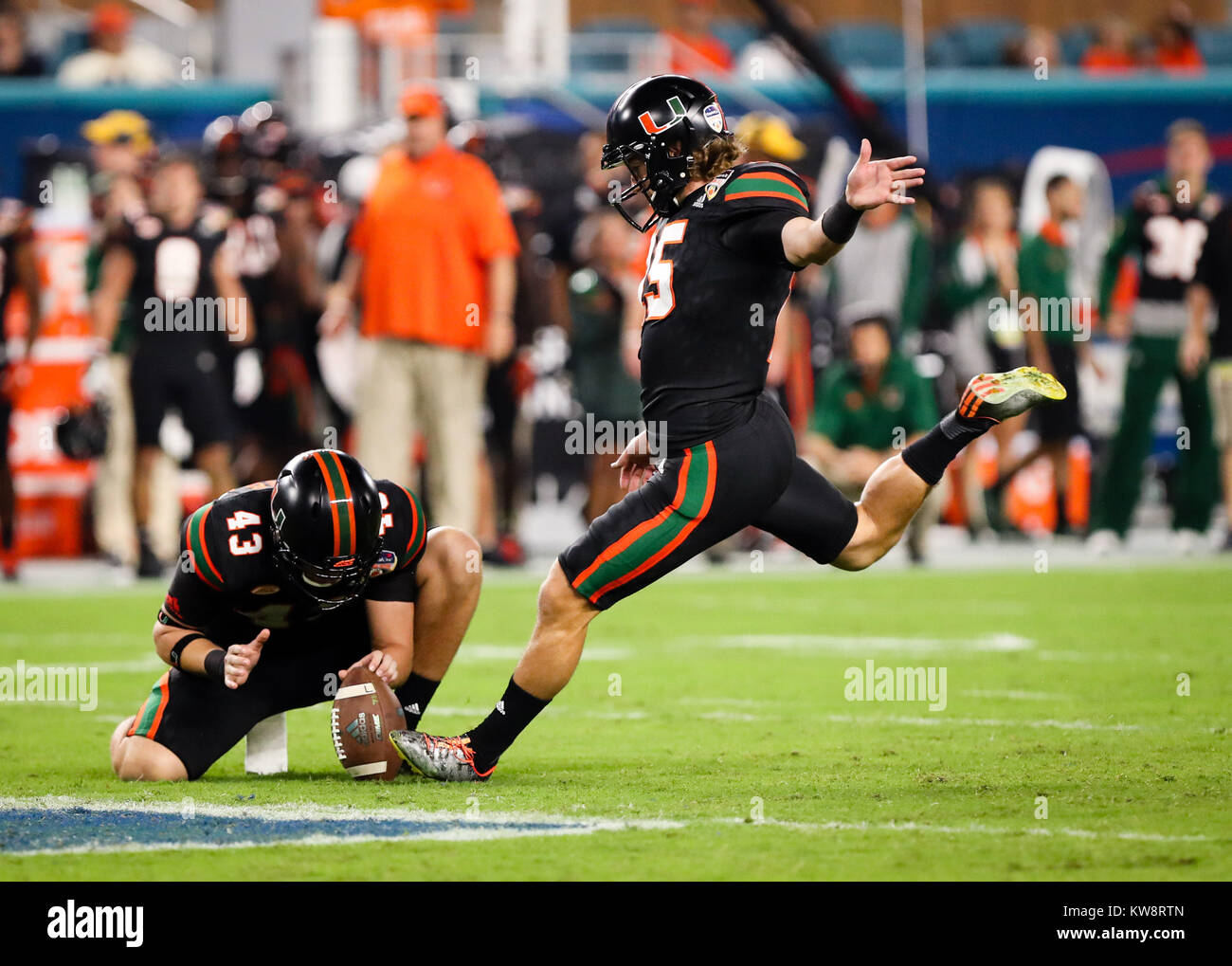 December 30 2017 Miami Hurricanes Place Kicker Michael Badgley 15