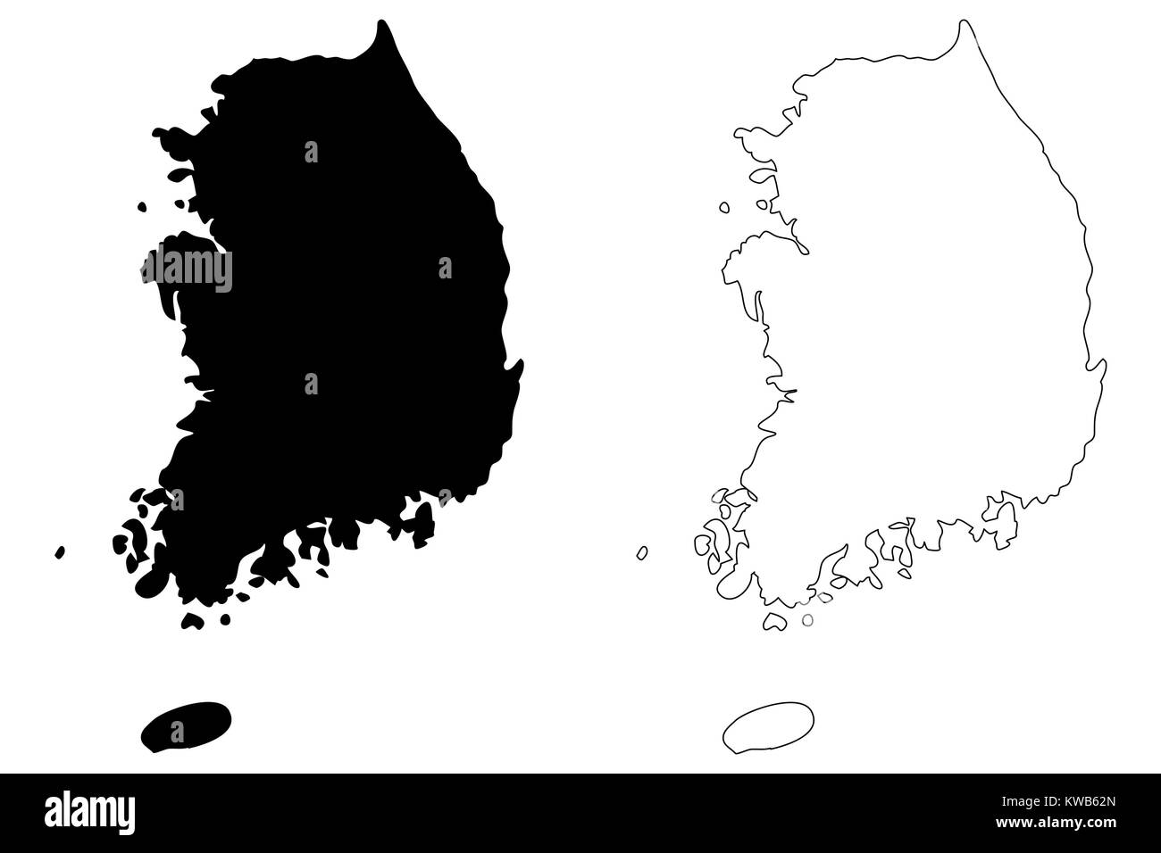 South Korea Map Vector Illustration Scribble Sketch Republic Of - South korea map vector