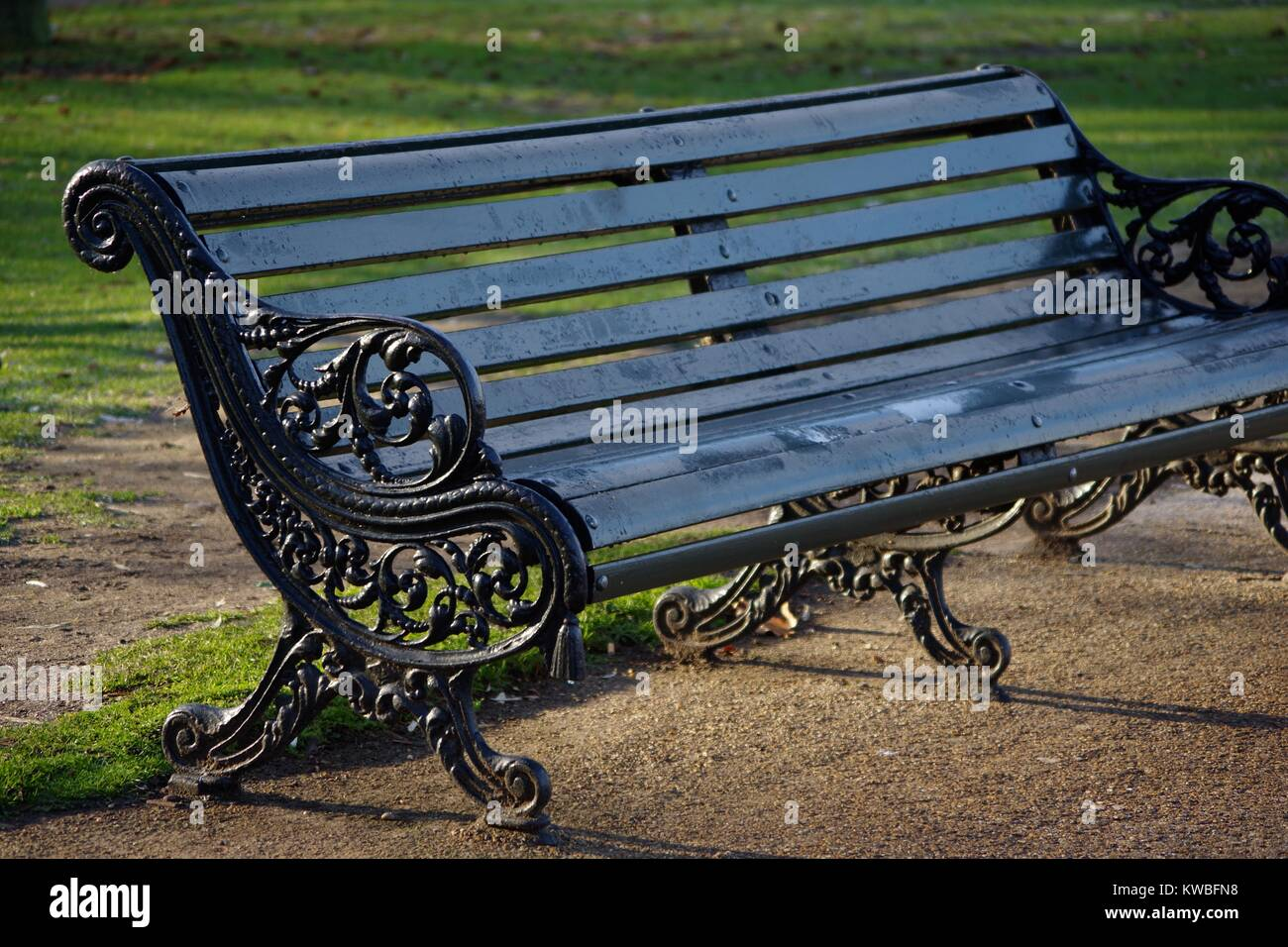 Ornate Traditional Cast Iron And Wood Bench In Hyde Park London Uk