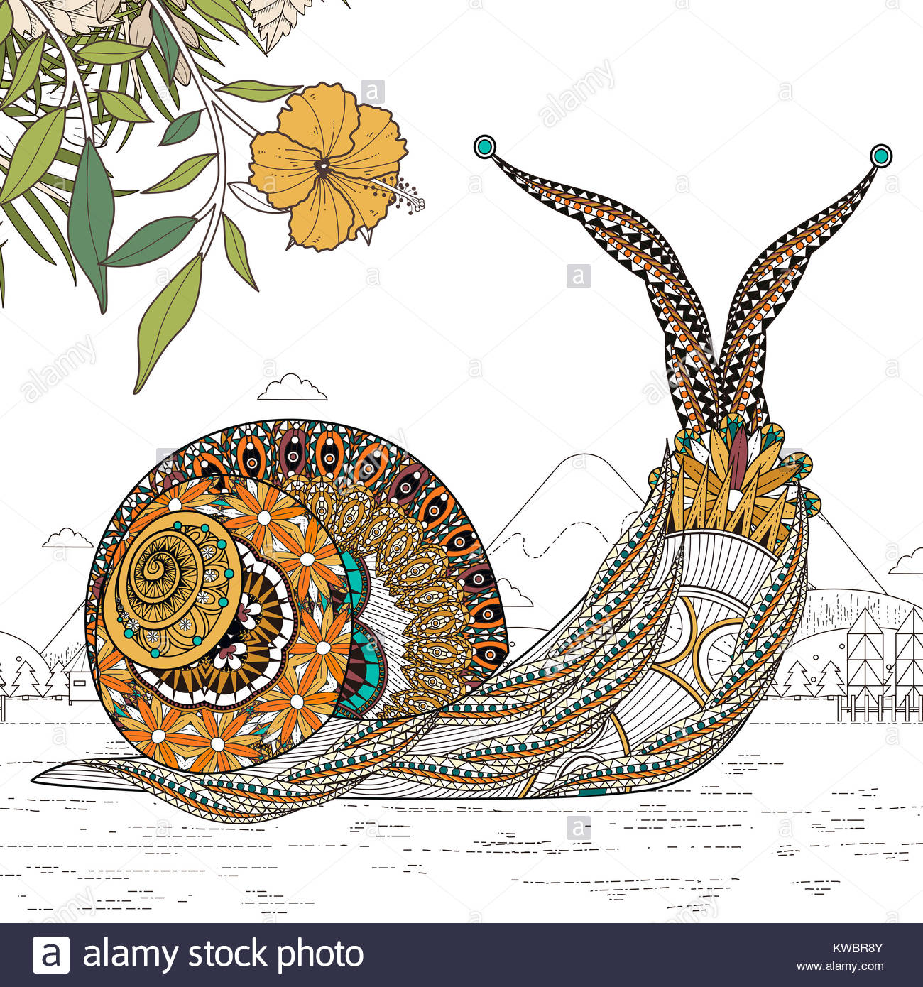 Elegant Snail Coloring Page In Exquisite Line