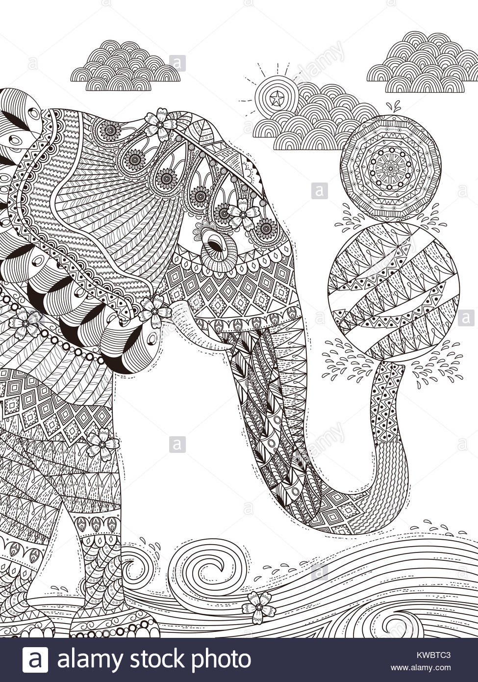gorgeous adult coloring page - elephant plays balls with its trunk ...