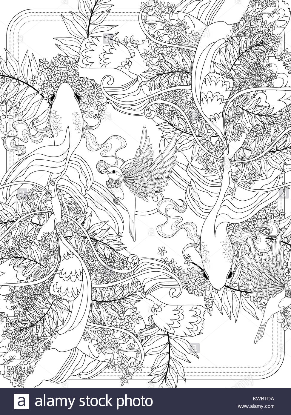graceful goldfish swim underwater - adult coloring page Stock Photo ...
