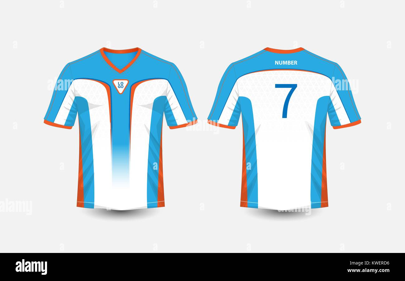 White Blue And Orange Pattern Sport Football Kits Jersey T Shirt