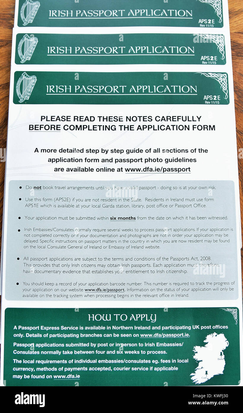 Irish passport application stock photos irish passport surge in irish passport applications uk 2nd january 2017 credit mark winter falaconquin