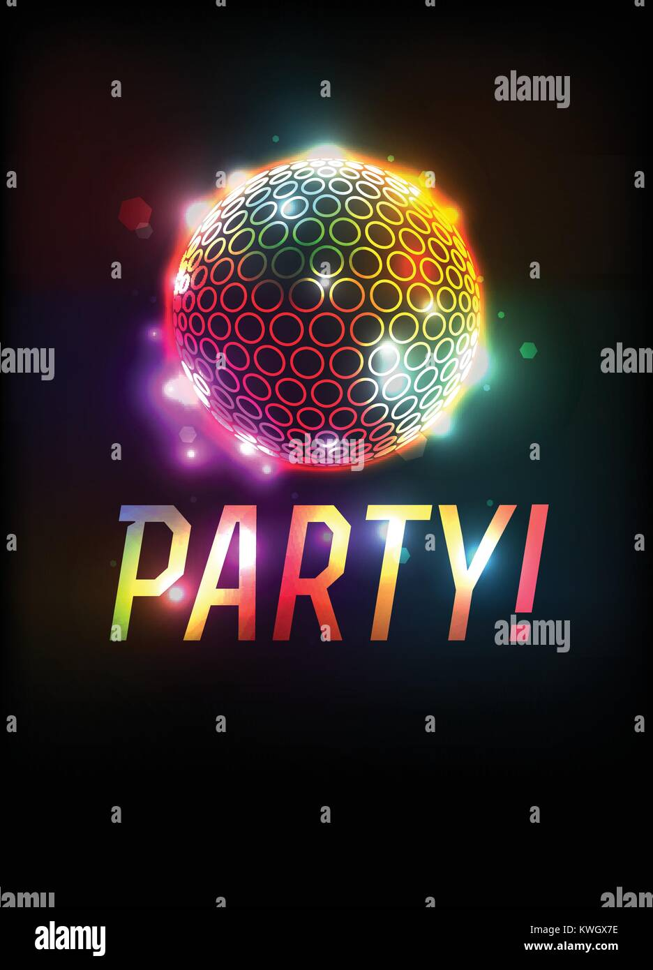 a party ball and word art template background illustration vector