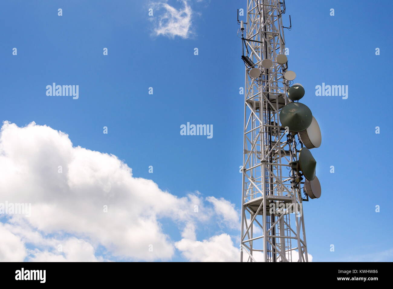 Transmitters and aerials on telecommunication tower, wireless Stock ...