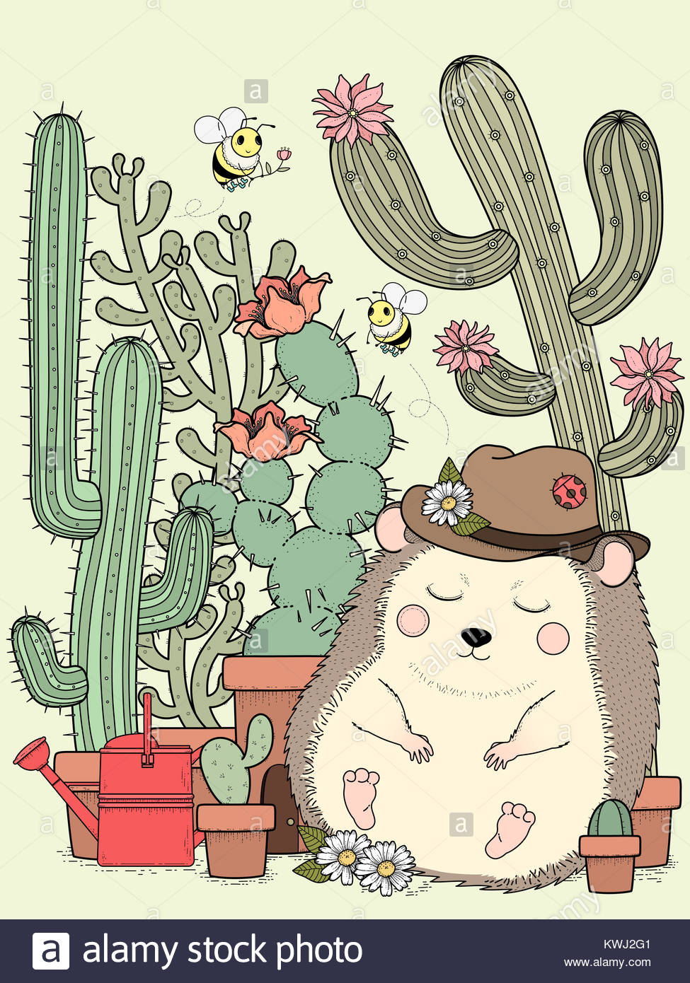 adorable hedgehog with cactus - adult coloring page Stock Photo ...