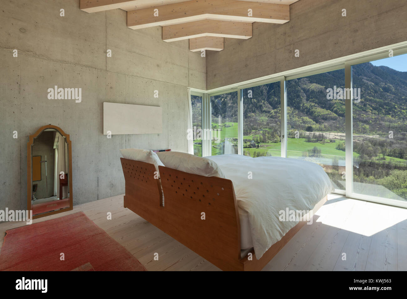 Interior of a modern chalet in cement hob of kitchen stock photo
