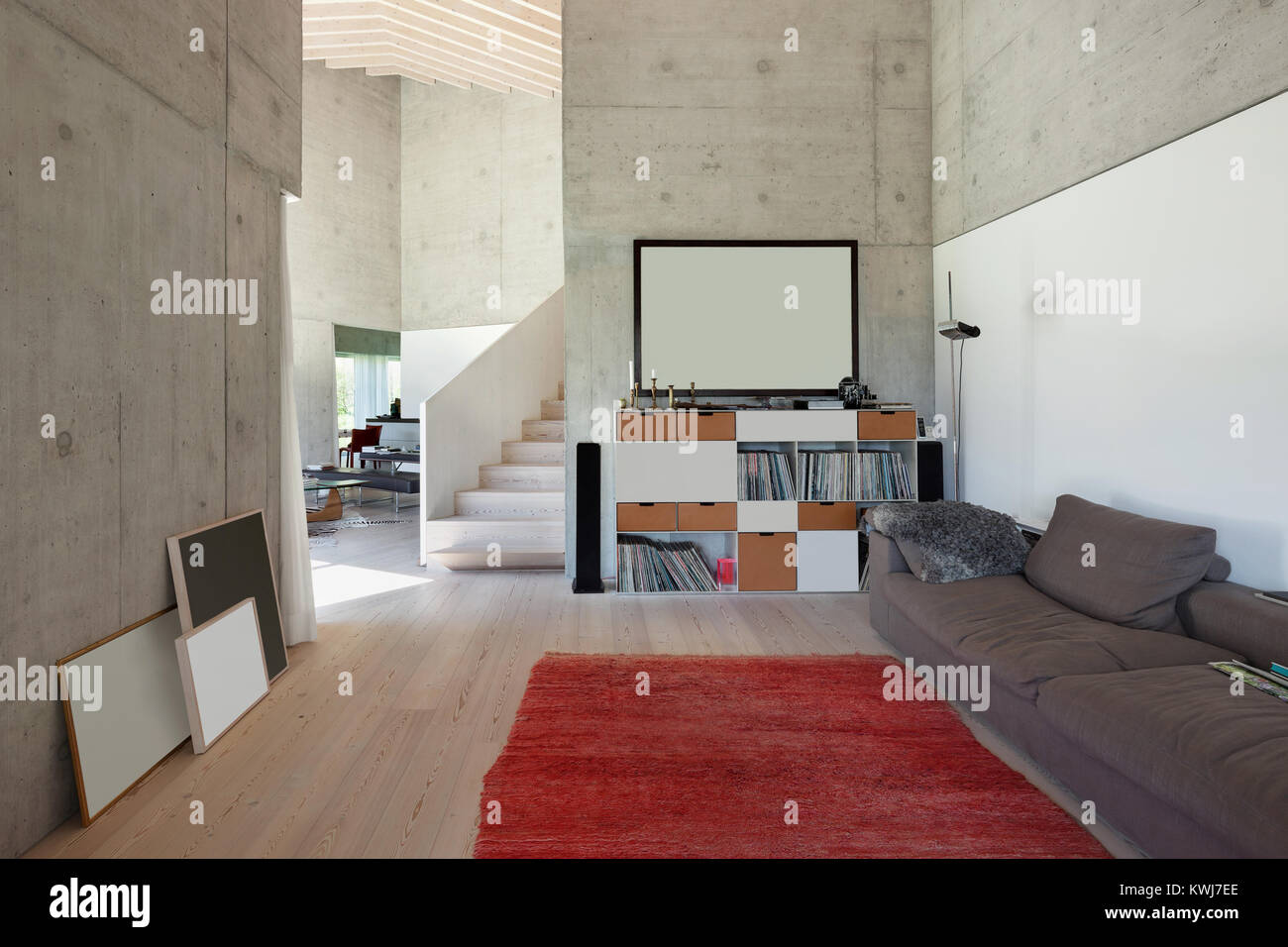 interior of a villa modern living room with red carpet concrete