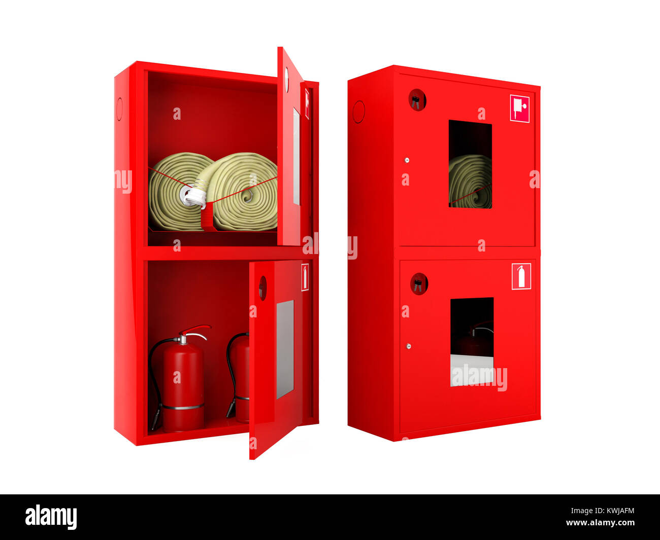 Red Fire Hose And Fire Extinguisher Cabinets On White Background