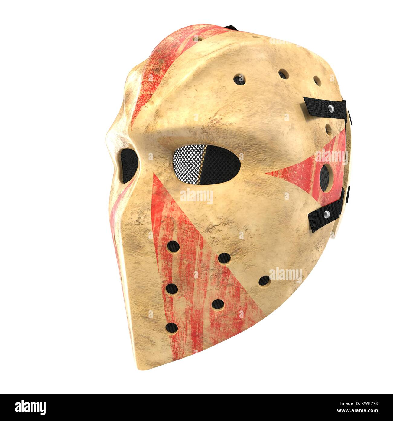 scary hockey halloween mask on white. 3d illustration stock photo