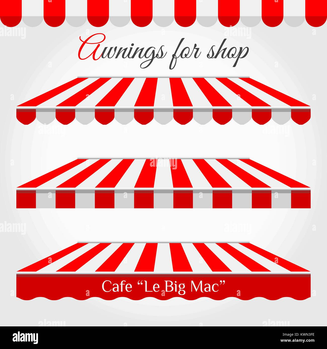 Striped Awnings for Shop in Different Forms. Red and White ...