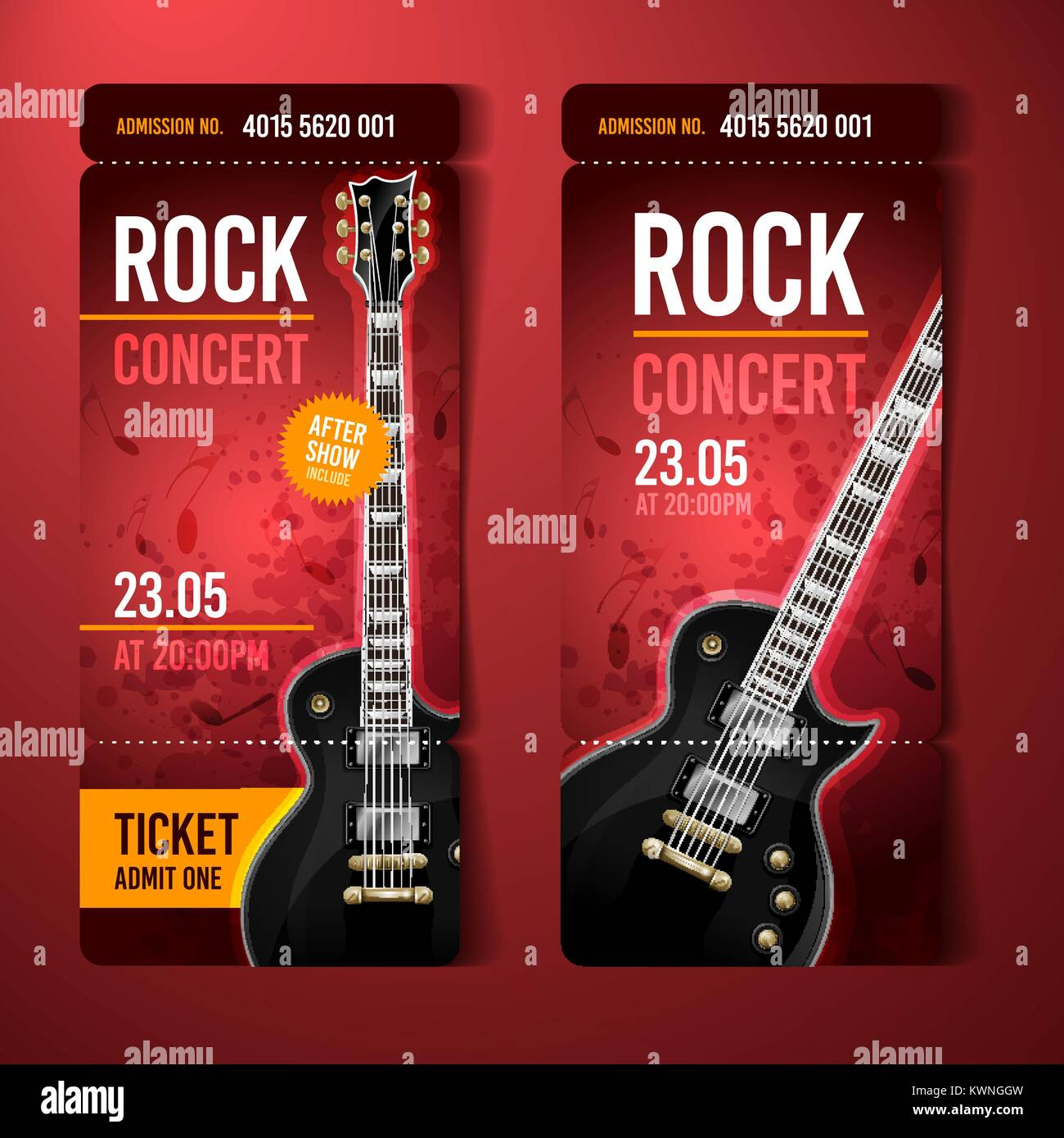 vector illustration blue rock concert ticket design template with ...