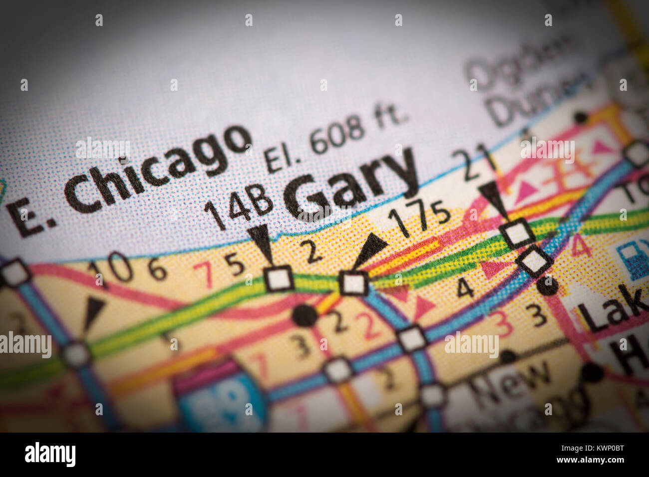 Closeup of Gary Indiana on a road map of the United States Stock